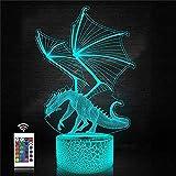 XKUN Verwendet Für 3D Acryl Led 16 Farbwechsel Nachtlicht Illusion Lampe Tischlampe Stimmungslicht Musik Geschenk Für Dekoration Fernbedienung Remote,Drache 3D