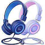 iClever 2 Pack Kinder Kopfhörer, Kabelgebundene Kopfhörer für Kinder mit MIC, 85/94 dB Lautstärkeregelung Einstellbare Stirnband, Faltbar auf Ohr Kopfhörer Kinder für Schule